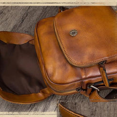 Blue Mens Leather Vintage Vertical Small Messenger Bags Small Side Bag Brown Courier Bag for Men