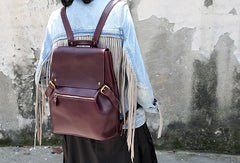 Handmade Leather backpack bag shoulder bag red black women leather purse