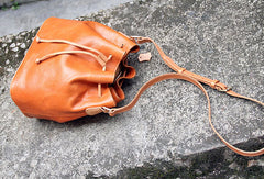Handmade leather bucket purse crossbody bag purse shoulder bag for women
