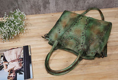 Genuine Handmade Bag Vintage Rivet Leather Handbag Shoulder Bag Crossbody Bag Women Leather Purse