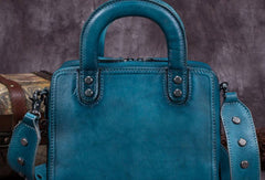 Genuine Leather Handbag Vintage Rivet Crossbody Bag Cube Shoulder Bag Purse For Women