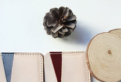 Handmade leather card slot small wallet purse coin wallet purse mini women