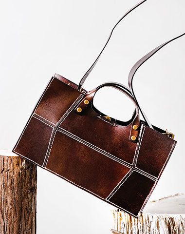 Genuine Leather Handmade Handbag Shoulder Bag Geometric Bag Purse For Women