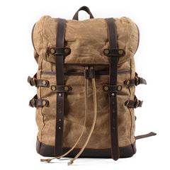 Waxed Canvas Mens Travel Backpack Canvas Hiking Backpack Canvas Backpack for Men