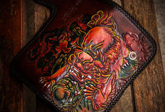Handmade leather Chinese Lion biker wallet long wallet brown leather men phone