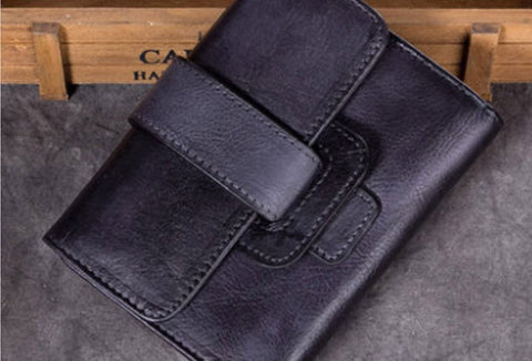Genuine Leather Wallet Vintage billfold Wallet Purse For Men Women