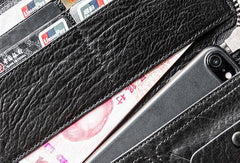 Cool Black leather Mens long wallet leather men Zipper Phone vintage wallet for men