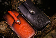 Handmade tooled 5.5 inch carved leather phone case iphone 6s 7s phone case