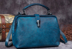 Handmade Green Leather Handbag Vintage Doctor Bag Shoulder Bag Purse For Women
