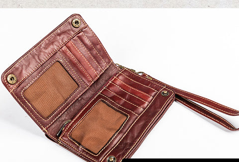 Handmade Genuine Leather Wallet billfold Leather Wallet Slim Bifold Wallet Wristlet Bag For Women