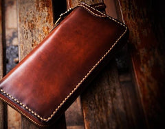Handmade Leather Mens Chain Biker Wallets Cool Leather Wallet Long Clutch Wallet for Men