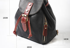Stylish Leather Black Womens Backpack School Backpack Vintage Backpack for Women