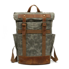 Waxed Canvas Mens Travel Backpack Canvas School Backpack Laptop Backpack for Men