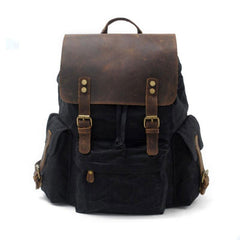 Waxed Canvas Leather Mens Hiking Backpacks Canvas Travel Backpack School Backpack for Men