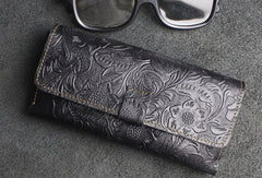 Handmade glasses leather box holder flowral leather short wallet for men women