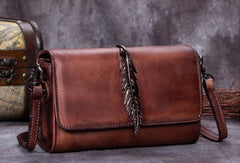 Genuine Leather Handbag Vintage Feather Bag Crossbody Bag Shoulder Bag Purse For Women