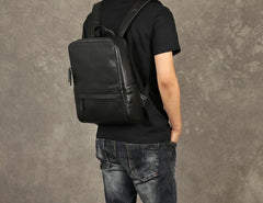 Genuine Leather Mens Large Cool Backpack Black Travel Backpack School Backpack for men