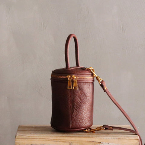 Cute LEATHER WOMEN Barrel Bag Small Bucket Purse Handbag SHOULDER Purses FOR WOMEN