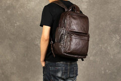 Coffee Leather Mens Cool Backpacks Large Travel Backpack Hiking Backpack for men