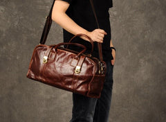 Cool Leather Mens Weekender Bag Travel Bag Duffle Bags Overnight Bag Holdall Bag for men