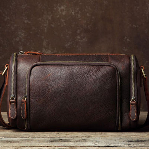 Leather Mens Cool Shoulder Bag Barrel Bag Messenger Bag for men