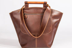 Genuine Leather Handbag Wooden Handmade Bag Shoulder Bag Purse For Women