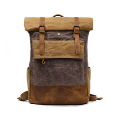 Waxed Canvas Mens Travel Backpacks Canvas School Backpacks Laptop Backpack for Men