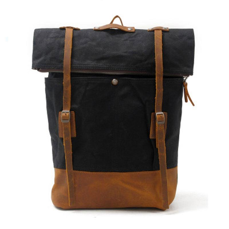 Cool Waxed Canvas Leather Mens Backpacks Canvas Travel Backpack Canvas