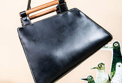 Genuine Leather Handmade Wooden Handbag Bag Shoulder Bag Purse For Women