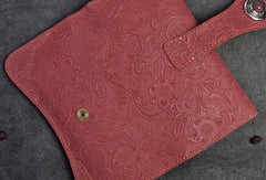 Handmade Long Leather Wallet Bifold Button Carved Floral Leather Clutch Wallet For Men Women