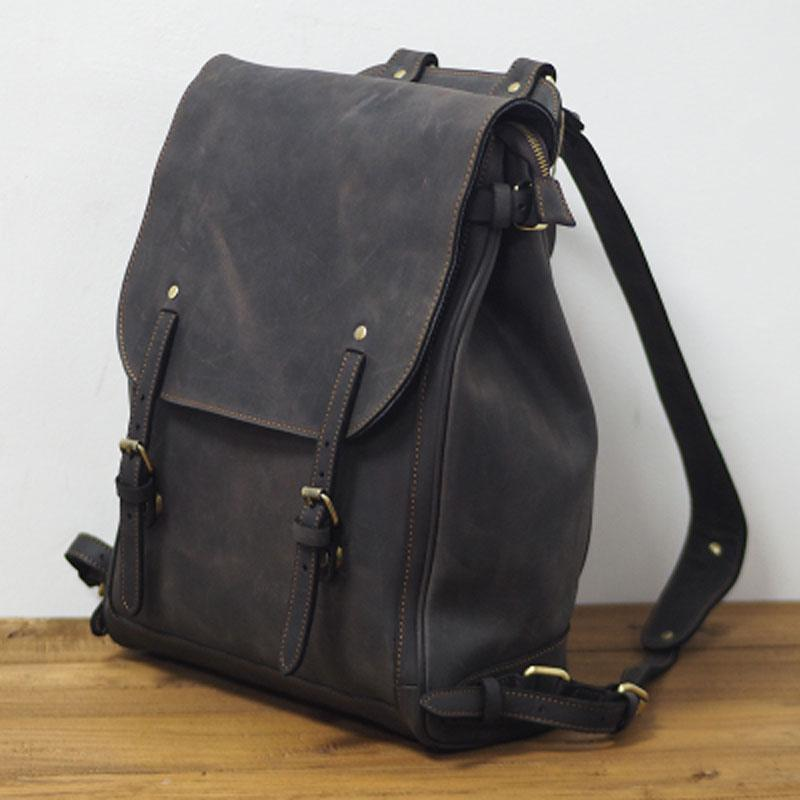 Vintage Mens Leather 15inch Laptop Backpack Leather School Backpack Travel Backpack for Men