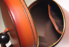 Genuine Leather round circle clutch purse handbag shopper bag for women leather