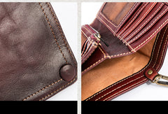 Handmade Genuine Leather Wallet Short Leather Wallet Slim Bifold Wallet Wristlet Bag For Women