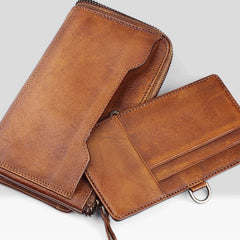 Cool mens long leather wallets vintage brown leaather long wallet for men