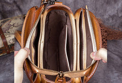 Genuine Leather Handbag Vintage Circle Bag Shoulder Bag Crossbody Bag Purse For Women