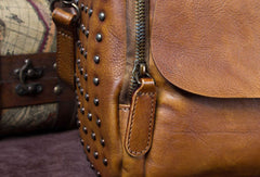 Genuine Leather Handbag Rivet Crossbody Bag Shoulder Bag Purse For Women