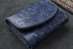 Handmade billfold trifold leather wallet flowral leather billfold wallet for men women