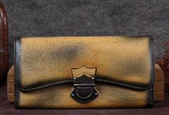 Genuine Leather Trifold Wallet Long Wallet Purse For Men Women