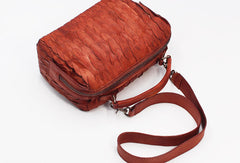 Handmade Leather Handbag Boston Bag Purse Crossbody Shoulder Bag for Women Lady