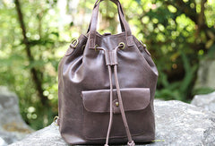 Handmade Leather backpack bag shoulder bag bucket bag women leather purse