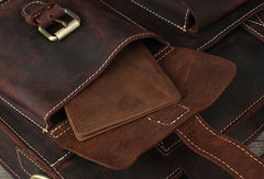 Genuine Leather Messenger Bag Briefcase Bag Cross Body Cool Chest Bag Travel Bag Hiking Bag For Men