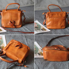 Small Brown Leather Satchel Flap Over Crossbody Bag - Annie Jewel
