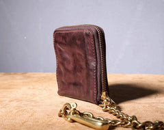 Handmade Genuine Leather Mens Chain Biker Wallet Cool Zipper Leather Wallet Bifold Short Wallets
