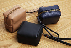 Genuine Leather Cute Short Cube Wallet Clutch Change Zipper Wallet Purse For Women Girl
