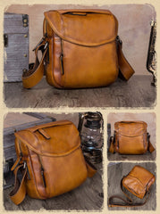 Brown Mens Leather Vintage Vertical Small Messenger Bags Small Side Bag Blue Courier Bag for Men