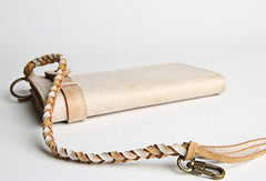 Handmade leather trucker wallet chain biker wallet long wallet beige leather men