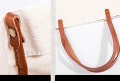 Handmade Genuine Leather Canvas Handbag Tote Large Shopper Bag Purse Handbag Shoulder Bag Purse For Women