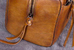 Genuine Leather Handbag Boston Bag Vintage Crossbody Bag Shoulder Bag Purse For Women