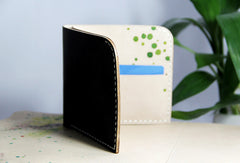 Handmade custom personalized short  hand painted leather bifold wallet for women/lady girl