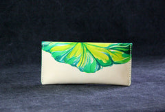 Handmade custom hand painted  leather clutch long wallet for women/lady girl